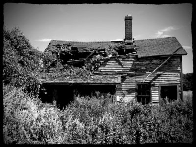 Abandoned Farmstead In Black And White